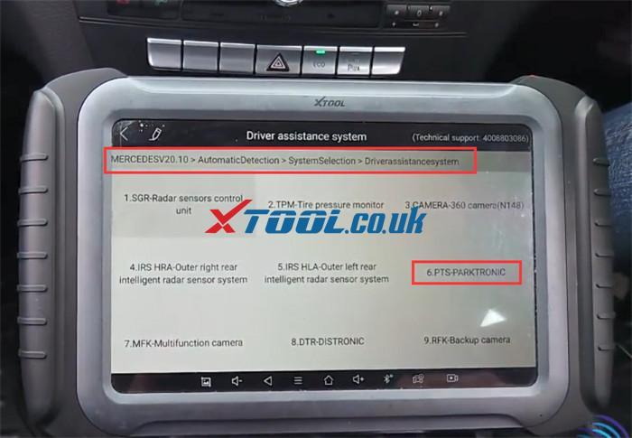 Xtool A80 Pro Benz C220 Parking Sensor Fault 3